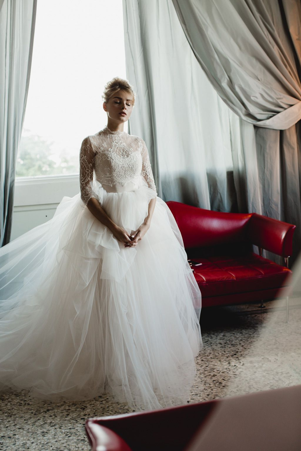 lace light pink and white bridal luxury wedding dress