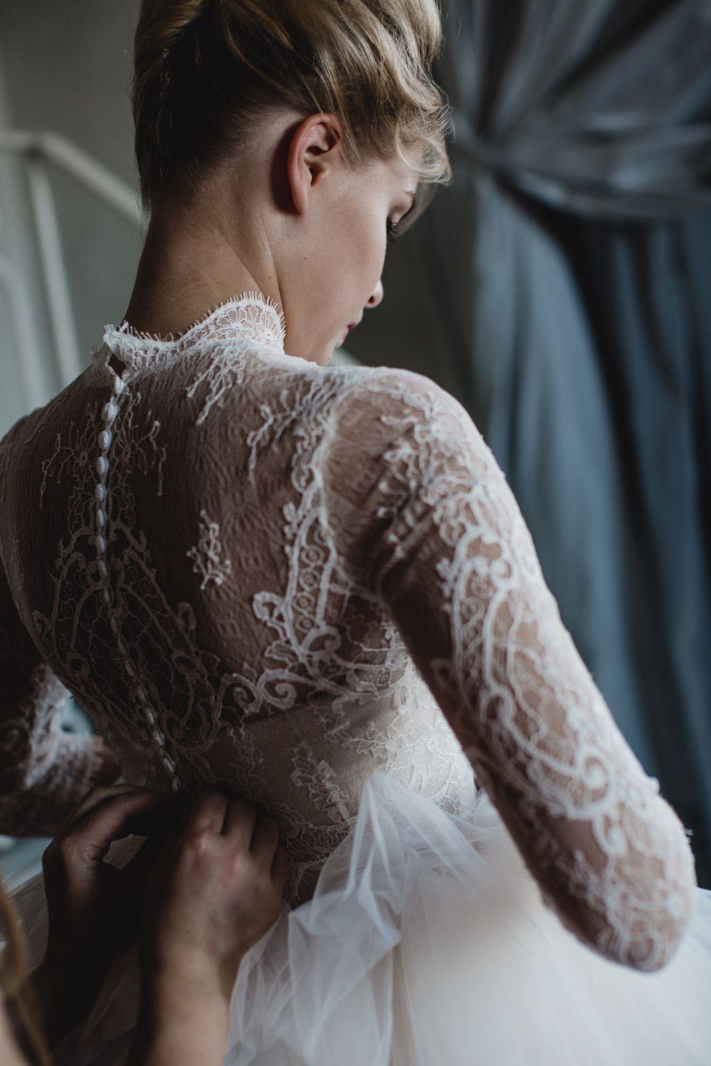 lace pink and white bridal luxury wedding dress