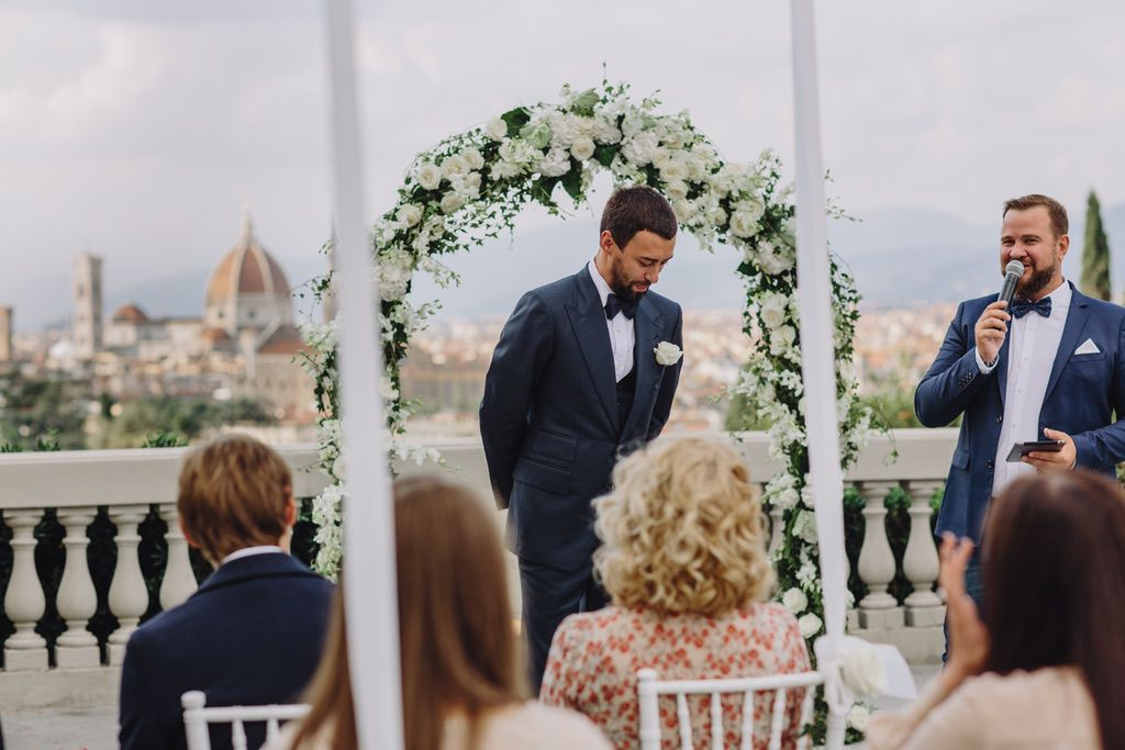 groom waiting for her bride wedding blessing ceremony Italy