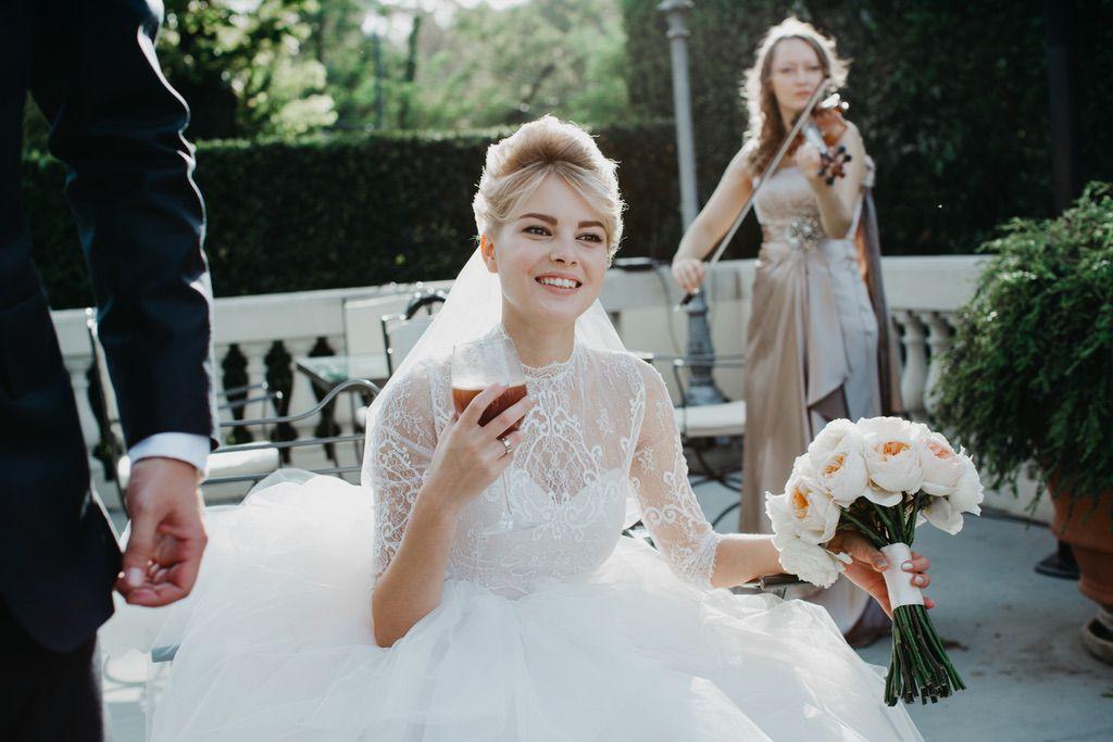 bride during the wedding aperitif