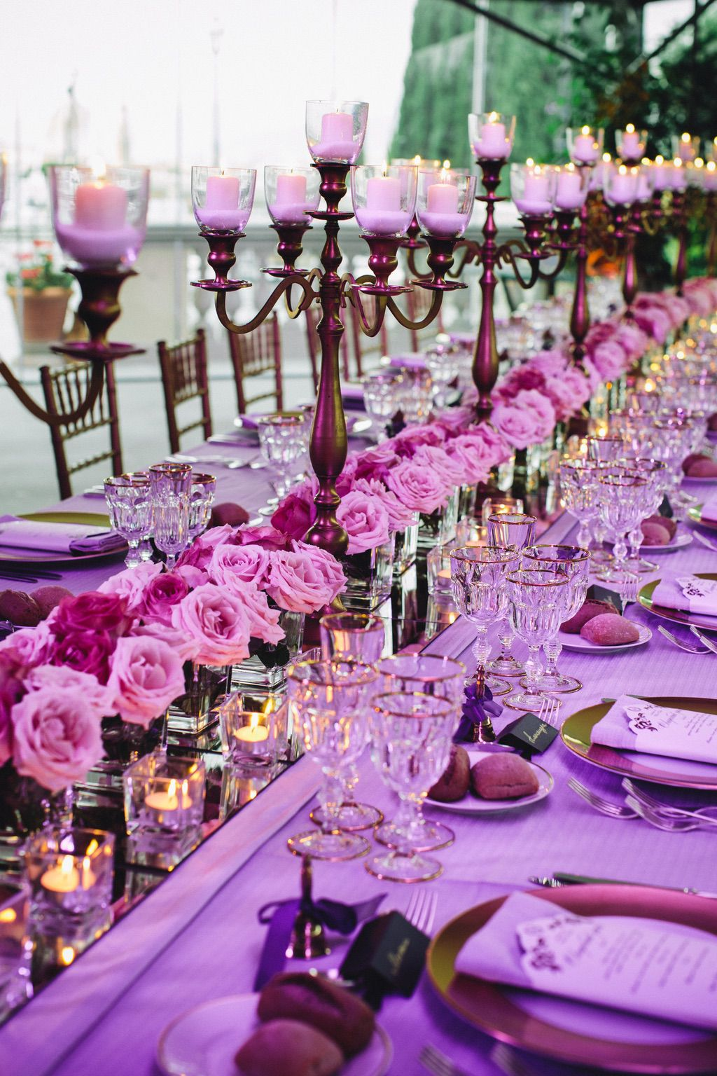 luxury pink wedding dinner table in Florence Italy