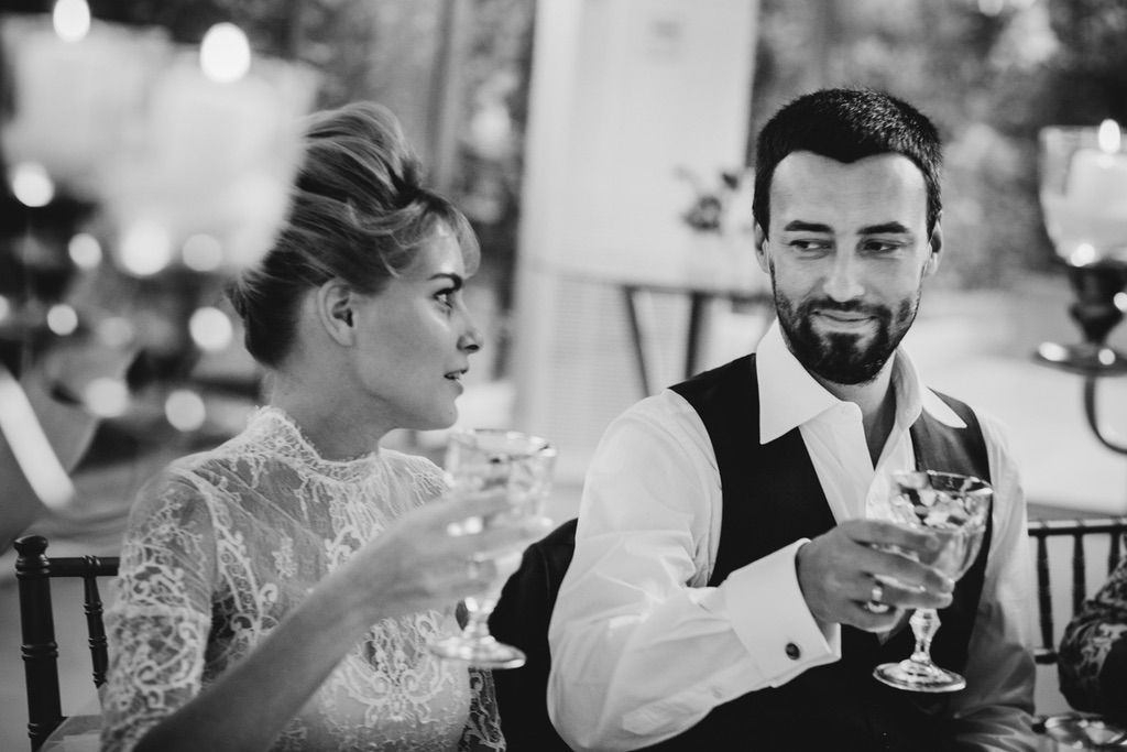 real wedding bride and groom toast in Firenze