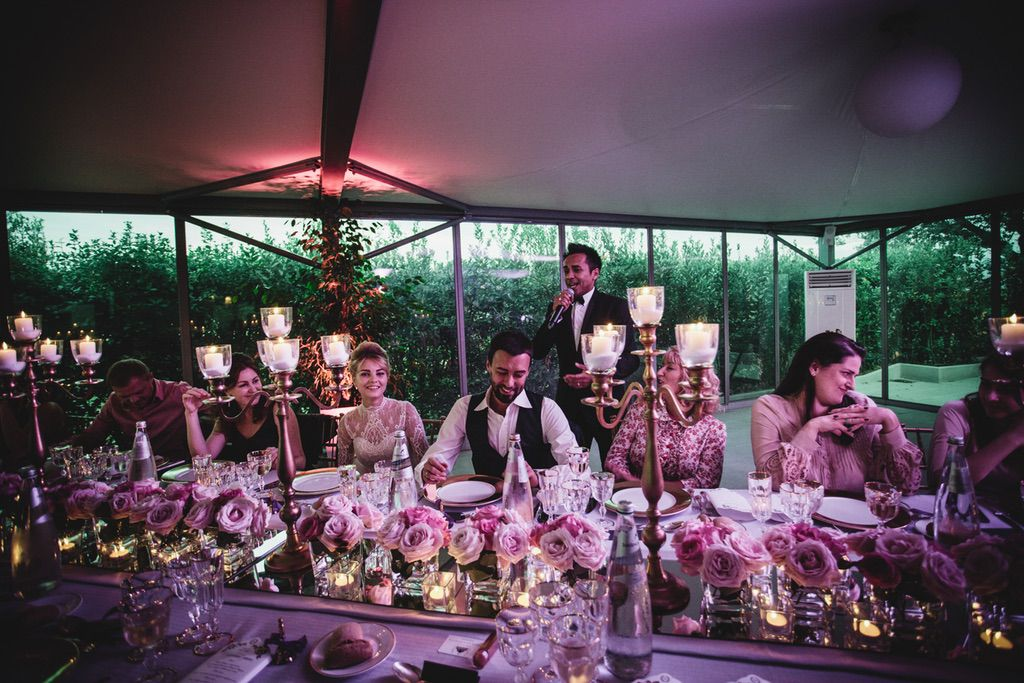 bride and groom guests pink luxury wedding dinner table in Firenze