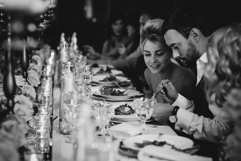 bride and groom at their dinner wedding table in Firenze
