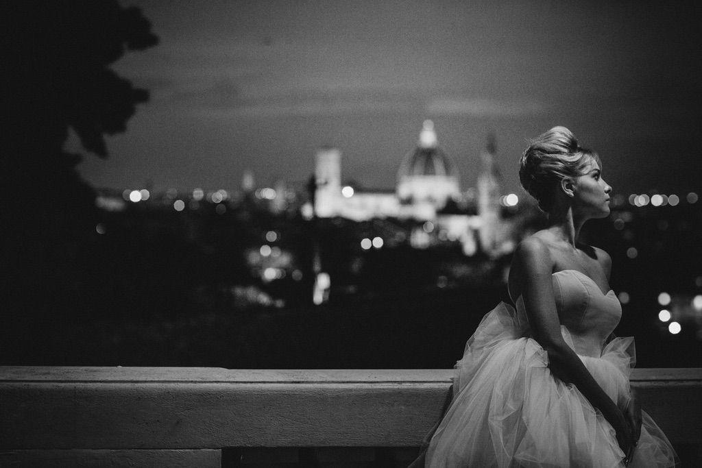 real wedding bride portrait terrace Firenze best viewpoint