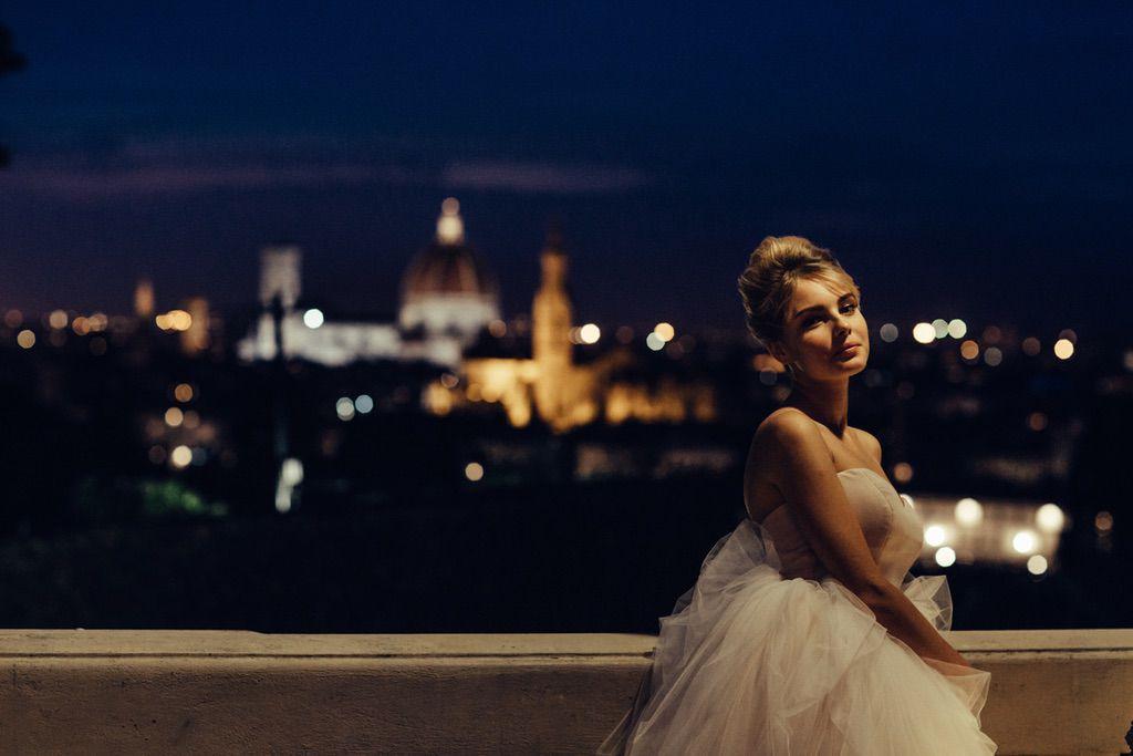 real wedding bride portrait terrace Firenze best view