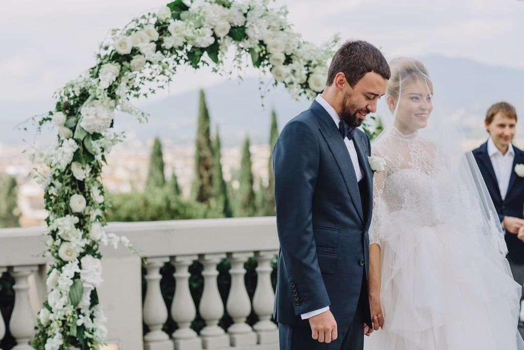 wedding blessing ceremony in Firenze bride and groom